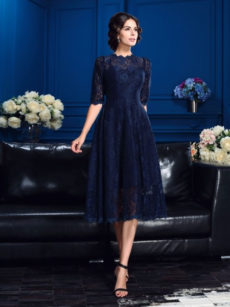 A-Line/Princess Lace Jewel 1/2 Sleeves Knee-Length Mother of the Bride Dresses