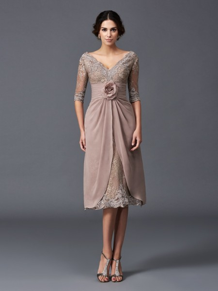 A-Line/Princess Lace V-neck 1/2 Sleeves Hand-Made Flower Tea-Length Mother of the Bride Dresses