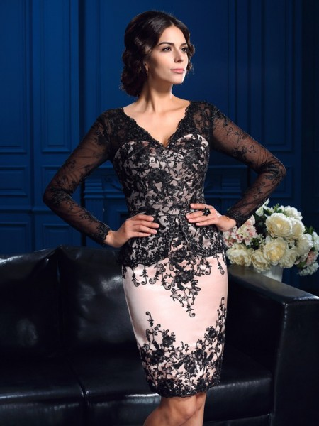 Sheath/Column Lace V-neck Applique Short/Mini Long Sleeves Mother of the Bride Dresses