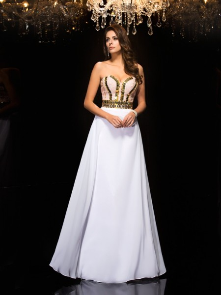 A-Line/Princess Chiffon Sequin Sweetheart Floor-Length Sleeveless Dresses