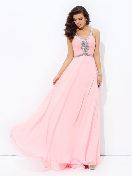 A-Line/Princess Beading Straps Sleeveless Chiffon Floor-Length Dresses