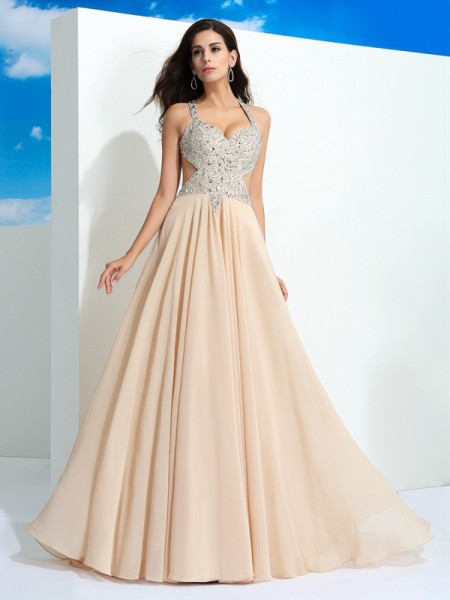 A-Line/Princess Chiffon Straps Sleeveless Beading Sweep/Brush Train Dresses