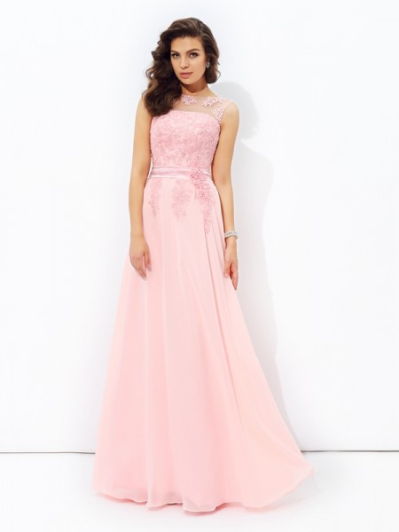 A-Line/Princess Chiffon Scoop Sleeveless Applique Floor-Length Dresses