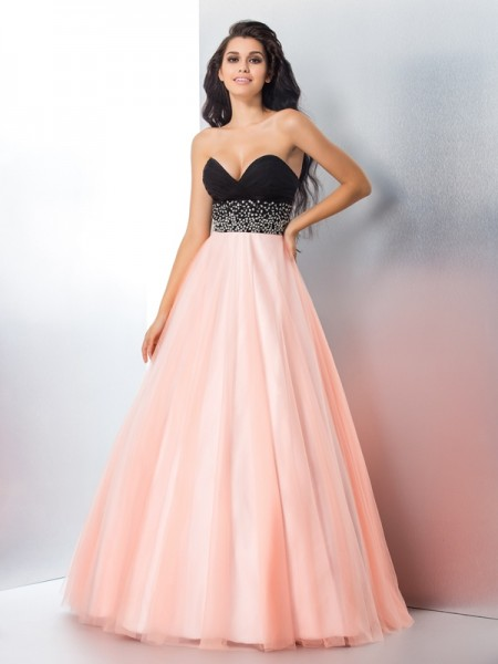 Ball Gown Satin Sweetheart Sleeveless Floor-Length Beading Dresses