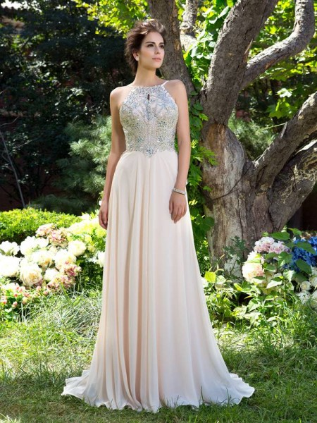 A-Line/Princess Chiffon Spaghetti Straps Sleeveless Beading Sweep/Brush Train Dresses