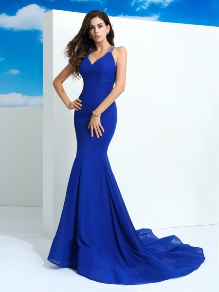 Sheath/Column Straps Sleeveless Beading Chiffon Court Train Dresses