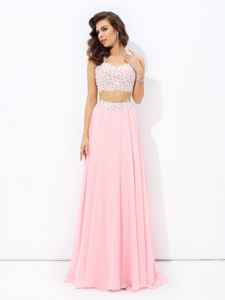 A-Line/Princess Straps Chiffon Sleeveless Applique Floor-Length Dresses
