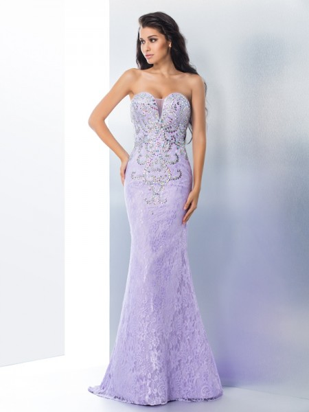 Trumpet/Mermaid Lace Sweetheart Beading Sweep/Brush Train Sleeveless Dresses