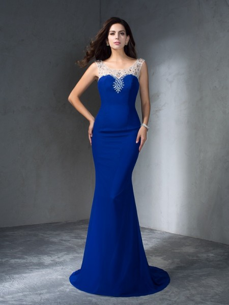 Trumpet/Mermaid Beading Scoop Chiffon Sweep/Brush Train Sleeveless Dresses