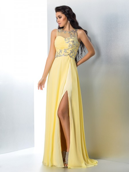A-Line/Princess Chiffon Beading Sheer Neck Sleeveless Sweep/Brush Train Dresses