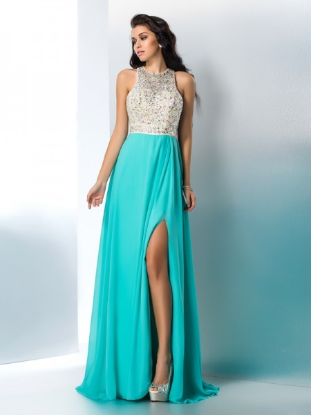A-Line/Princess Chiffon Beading Scoop Sleeveless Floor-Length Dresses
