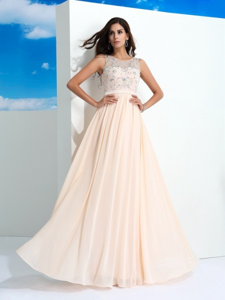 A-Line/Princess Beading Sheer Neck Chiffon Floor-Length Sleeveless Dresses