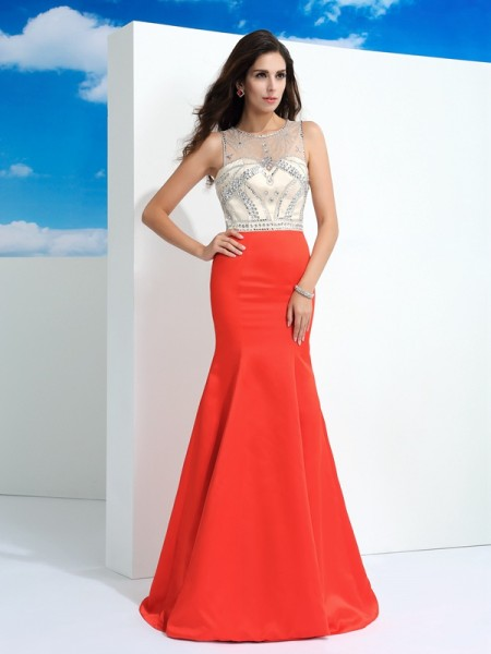 Trumpet/Mermaid Satin Beading Sheer Neck Floor-Length Sleeveless Dresses