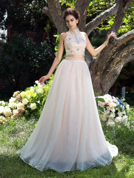 A-Line/Princess Net Beading High Neck Sleeveless Sweep/Brush Train Dresses