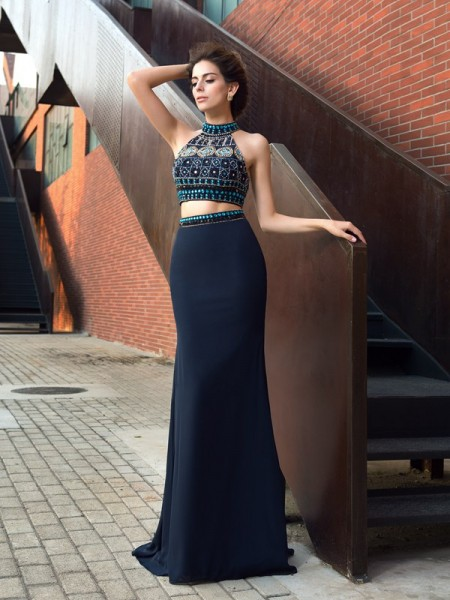 Sheath/Column Chiffon Beading High Neck Sleeveless Sweep/Brush Train Dresses