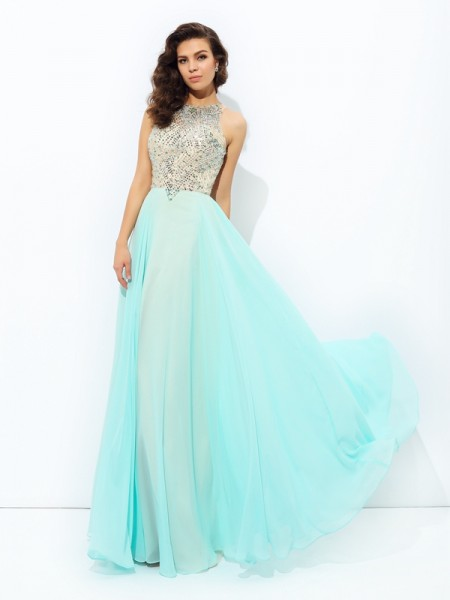 A-Line/Princess Chiffon Beading Jewel Sleeveless Floor-Length Dresses