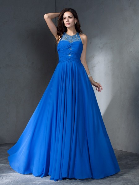 A-Line/Princess Scoop Chiffon Beading Sweep/Brush Train Sleeveless Dresses