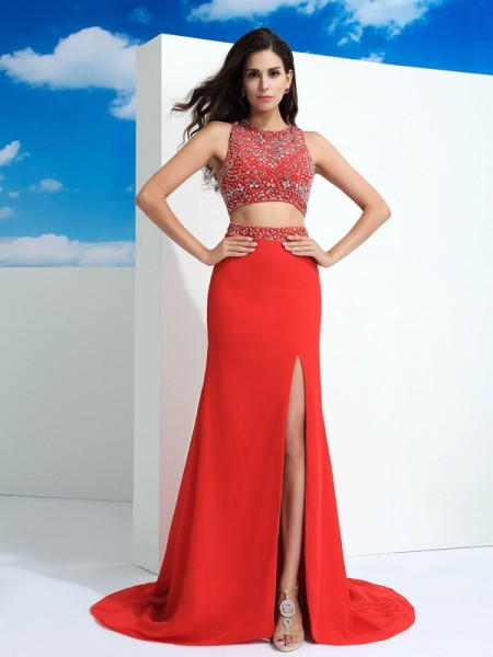 Sheath/Column Scoop Beading Sleeveless Chiffon Court Train Dresses