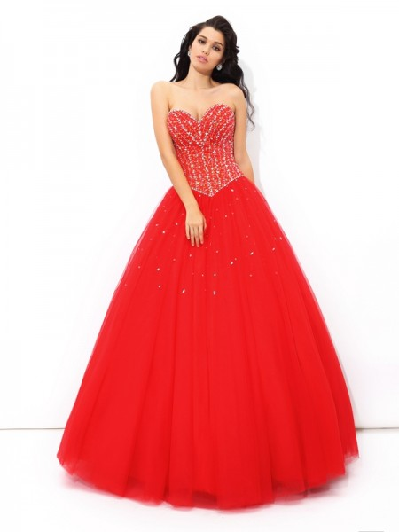 Ball Gown Net Sweetheart Sleeveless Beading Floor-Length Dresses
