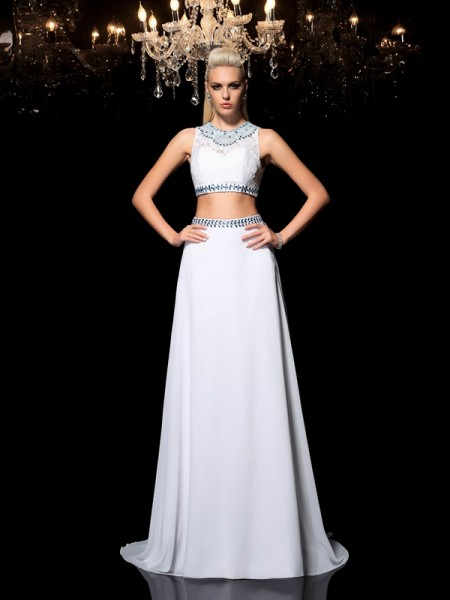 A-Line/Princess Chiffon Jewel Sleeveless Floor-Length Beading Dresses