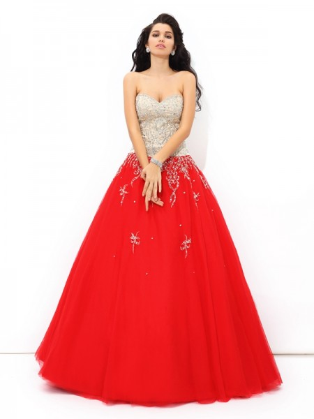 Ball Gown Satin Sweetheart Beading Floor-Length Sleeveless Dresses