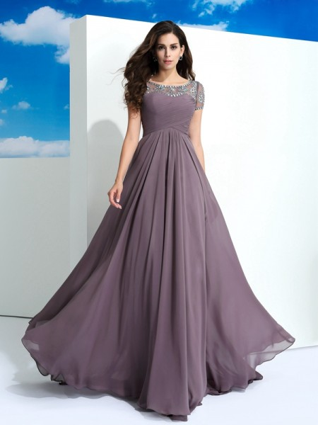 A-Line/Princess Sheer Neck Chiffon Short Sleeves Beading Floor-Length Dresses