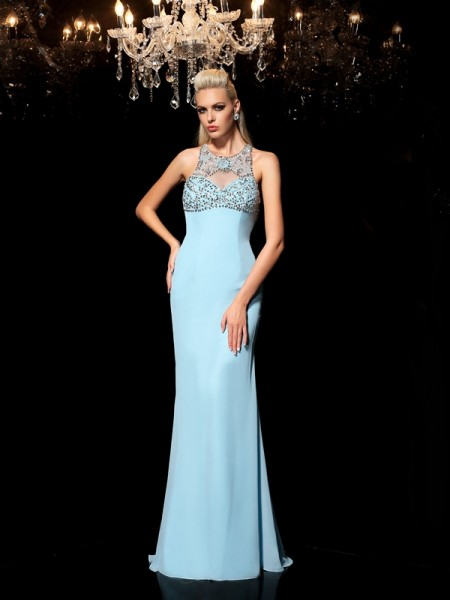 Sheath/Column Sheer Neck Chiffon Sleeveless Beading Floor-Length Dresses