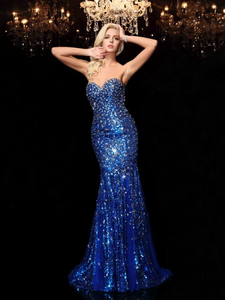 Trumpet/Mermaid Sequins Sweetheart Sleeveless Sequin Court Train Dresses