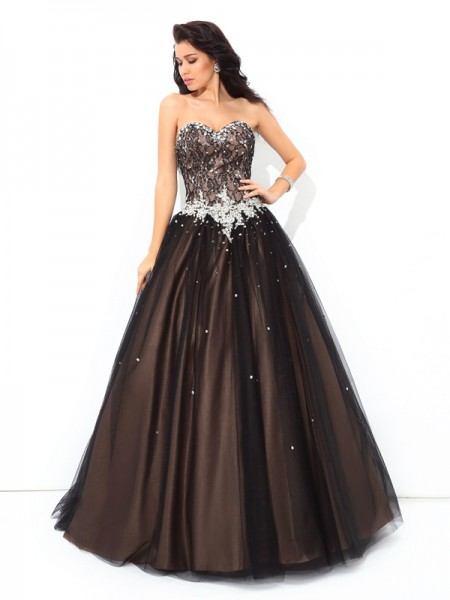 Ball Gown Net Sweetheart Floor-Length Beading Sleeveless Dresses
