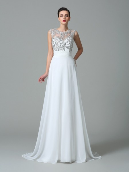 A-Line/Princess Chiffon Beading Jewel Sleeveless Sweep/Brush Train Dresses