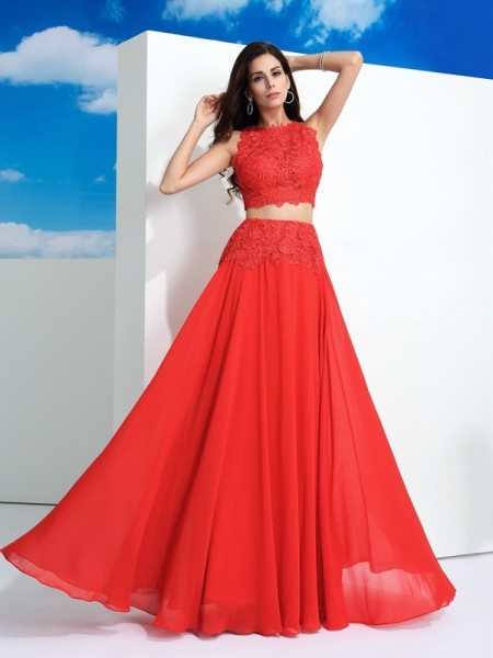 A-Line/Princess Lace Scoop Sleeveless Chiffon Floor-Length Dresses