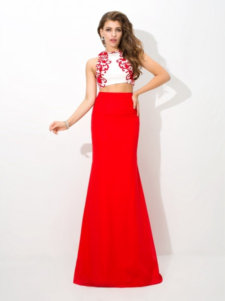 Sheath/Column Chiffon Applique High Neck Floor-Length Sleeveless Dresses