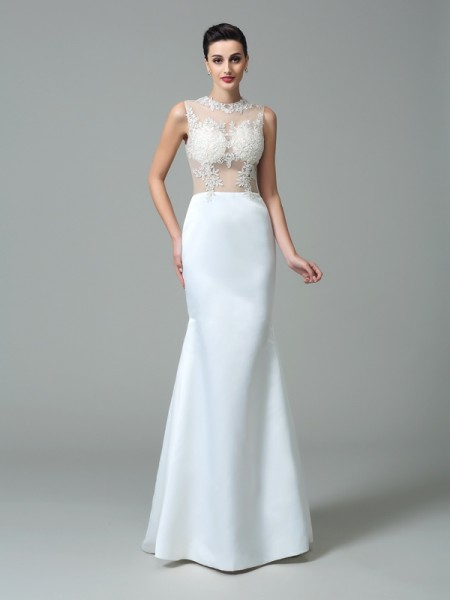 Sheath/Column Satin Applique Jewel Sweep/Brush Train Sleeveless Wedding Dresses