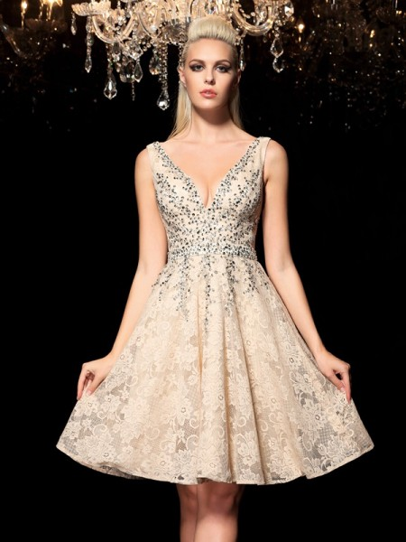 A-Line/Princess Lace V-neck Short/Mini Beading Sleeveless Dresses