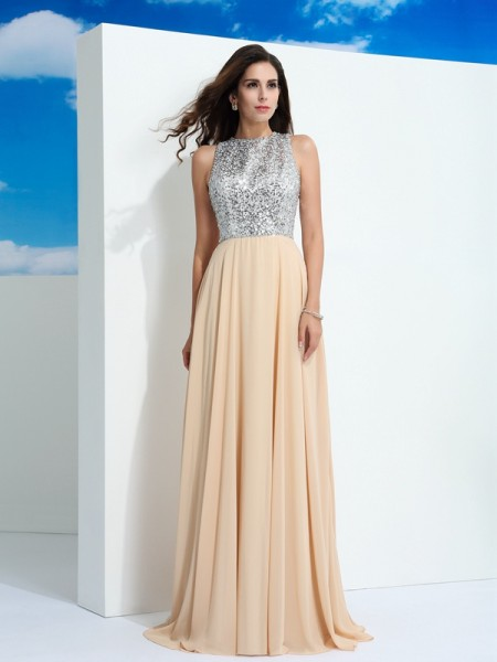 A-Line/Princess Scoop Sleeveless Paillette Chiffon Sweep/Brush Train Dresses