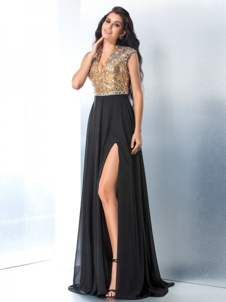 A-Line/Princess Chiffon Rhinestone V-neck Sweep/Brush Train Sleeveless Dresses