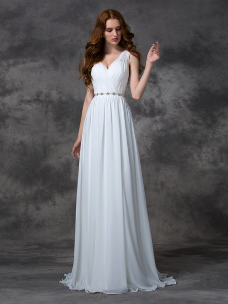 A-Line/Princess Beading V-neck Sleeveless Chiffon Sweep/Brush Train Wedding Dresses