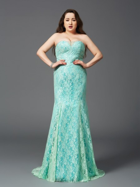 Sheath/Column Strapless Satin Lace Court Train Sleeveless Dresses