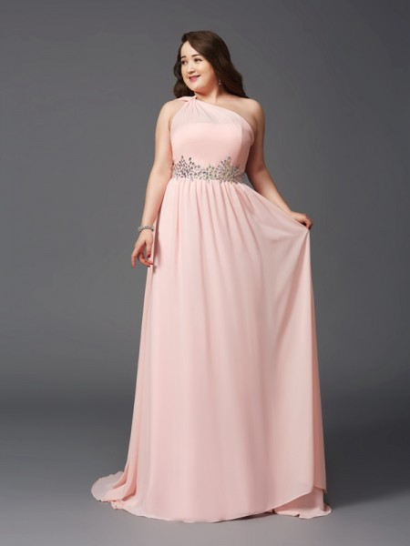 A-Line/Princess One-Shoulder Chiffon Sleeveless Sweep/Brush Train Rhinestone Dresses