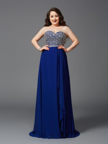 A-Line/Princess Chiffon Sweetheart Sleeveless Rhinestone Sweep/Brush Train Dresses