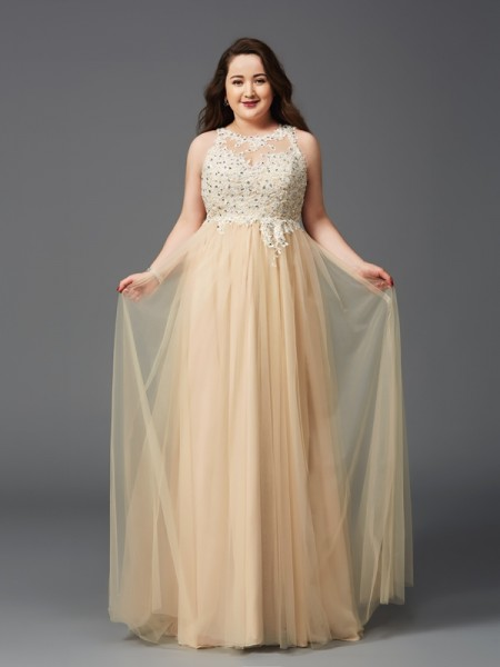 A-Line/Princess Net Scoop Rhinestone Floor-Length Sleeveless Dresses