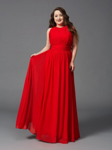 A-Line/Princess Chiffon Jewel Sleeveless Floor-Length Ruched Dresses