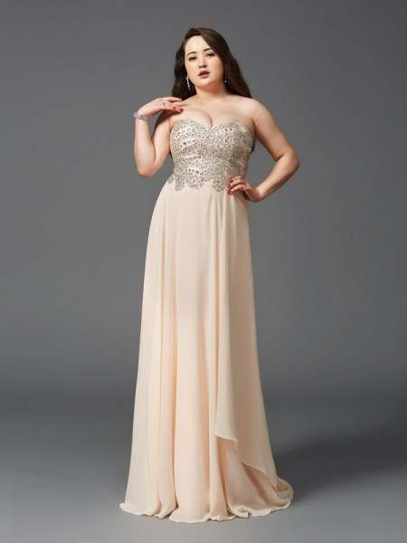 A-Line/Princess Sweetheart Sleeveless Rhinestone Chiffon Sweep/Brush Train Dresses