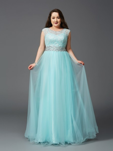 A-Line/Princess Elastic Woven Satin Scoop Sleeveless Floor-Length Rhinestone Dresses