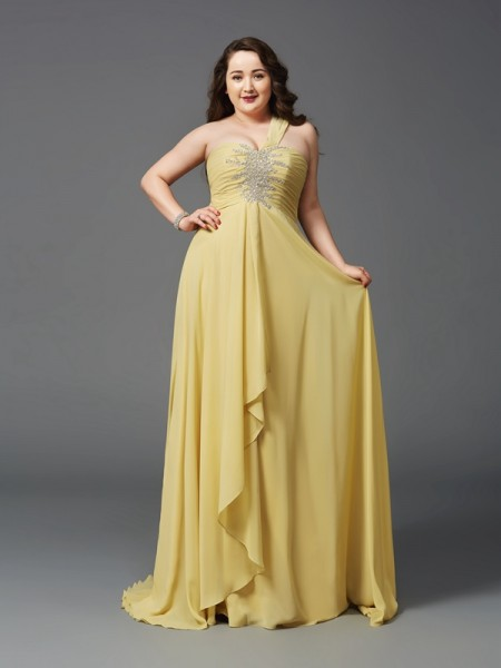 A-Line/Princess Chiffon One-Shoulder Sleeveless Rhinestone Sweep/Brush Train Dresses