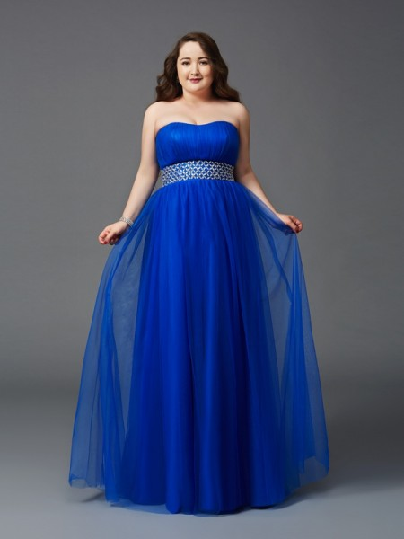 A-Line/Princess Net Strapless Sleeveless Floor-Length Rhinestone Dresses