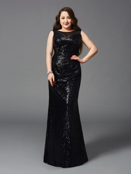 Sheath/Column Sequins Scoop Sleeveless Floor-Length Dresses