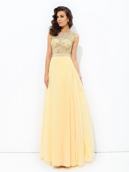 A-Line/Princess Bateau Sleeveless Beading Chiffon Floor-Length Dresses