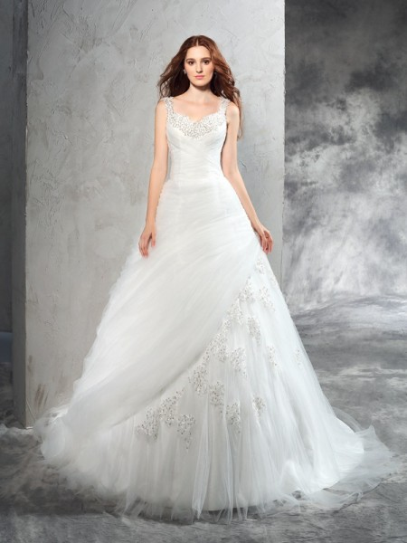 Ball Gown Straps Net Sleeveless Court Train Applique Wedding Dresses