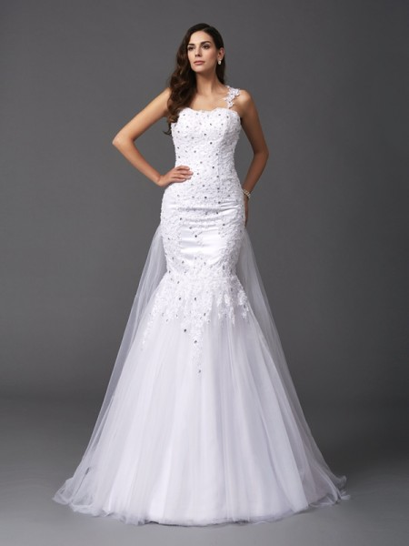 Trumpet/Mermaid Straps Net Sleeveless Beading Sweep/Brush Train Wedding Dresses